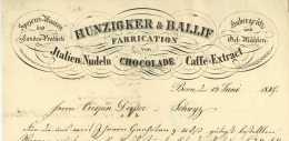 Schweiz Bern 1847 Hunzigker & Ballif Spezialitäten Schokolade Italien-Nudeln Kaffee Dusser Schwyz - Suisse
