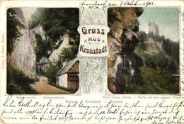 * T2/T3 Brassó, Kronstadt, Brasov; Salamon Szikla, Fehér Torony / Rock, Tower. Art Nouveau (EK) - Postcards