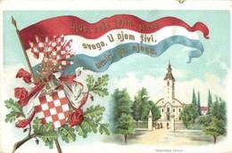 T2/T3 Fiume, Rijeka; Trsatska Crkva / Church. Croatian Flag And Coat Of Arms. Litho  (EK) - Postcards