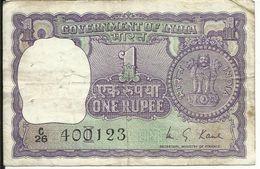 INDE , 1 Rupee ,Alphabet : C 26 , N° World Paper Money : 77 - Inde