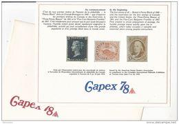 1978 CAPEX Canada SOUVENIR CARD In ORIGINAL ENVELOPE,  Penny Black, Beaver, Benjamin Franklin Stamps Design Exhibition - Esposizioni Filateliche
