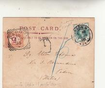 London To Padova Su Post Card New Law Courts. Affancatura Insufficiente E Tassata In Italia. Bollo Tondo Riq. Anno 1900 - 1840-1901 (Regina Victoria)