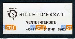 Ticket - METRO - RATP 2007 - Billet D'essai Blanc - Peu Courant - Europe