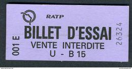 Ticket - METRO - RATP 2003 - Billet D'essai Violet U-B 15 - Peu Courant - Europe