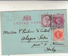 London To Alagna Valsesia Su Letter Card Intero Postale 1894 - 1840-1901 (Regina Victoria)