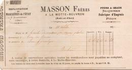 Bon De Livraison Masson Frères Briqueterie à La Motte- Beuvron Le 11 Octobre 1877 - 1800 – 1899