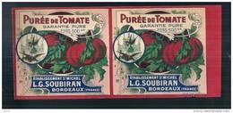 étiquette Double Sortie Imp -purée De Tomates  SOUBIRAN  BORDEAUX - Modele Parfiné  Chromo Litho  XIXeime/XX 25x11cm  - - Fruits & Vegetables