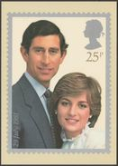 Prince Of Wales And Lady Diana Spencer, 25p, 1981 - Royal Mail Stamp Card PHQ 53b - Stamps (pictures)