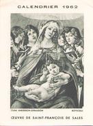 Calendrier 1962 Oeuvre De Saint-François De Sales - Calendars
