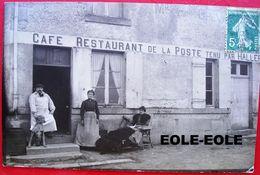 58 - Carte Photo - SAINT LAURENT - Cafe - Restaurant De La Poste - HALLEREAU - DUTARTRE - Devanture - Remise - Ecurie - France