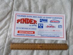 Invitation Au Cirque Pinder Jean Richard Tournée été 2002 - Biglietti D'ingresso