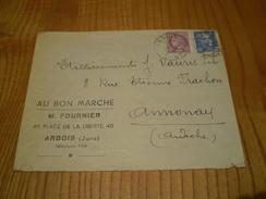 Enveloppe Commerciale Arbois Jura Au Bon Marché M. Fournier; Cachet Arbois Marianne De Gandon 4.50f & 1.50 Cérés Mazelin - 1900 – 1949
