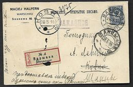 MAY. 1914. REGISTERED  POSTCARD BUSINES  CARD   FROM WARSAW - KOWNO  LITHUANIA . - Poland