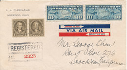 USA Registered Cover Good Franked Sent To California 13-10-1942 - United States