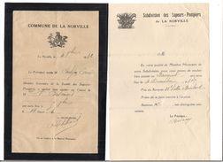 2 LETTRES  SAPEURS POMPIERS De LA NORVILLE - - Documents Historiques