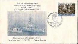 RARE MARCOPHILIE NAVALE LETTRE PANAMA PORTE HELICOPTERE JUANA DE ARCO EX COMMANDNAT BOURDAIS BI CENTENAIRE REVOLUTION - Panama