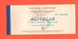 ALITALIA Airlines Avion Flight Aerei Carta D'imbarco Volo Roma > Parigi > Roma Giugno 1959 - Plane