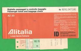ALITALIA Airlines Avion Flight Aerei Carta D'imbarco Volo Roma > Venezia > Roma 1983 - Plane
