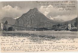 ** *  38  ***  GRENOBLE  Le Pont Suspendu Sur Le Drac   Précurseur  TB(timbre Décoillé) - Grenoble