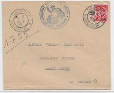 1955 - MADAGASCAR - ENVELOPPE FM Du DETACHEMENT MOTORISE AUTONOME De TANANARIVE => ST DENIS (REUNION) - Covers & Documents