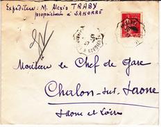 Paix 283 Sur Enveloppe De Sahorre (Pyrénées-Orientales) à Chalon-sur-Saône (1937) + Obl. Convoyeur La Tour-de-Carol à Pe - France