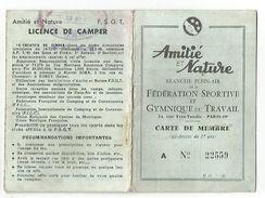 CARTE D'ADHERENT FEDERATION SPORTIVE ET GYMNIQUE DU TRAVAIL 1954 - Cartes