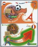 NL.- 2 Telefoonkaarten. 10 En 25 Gulden. WK Voetbal 1998 Frankrijk. De Oranje-wave. Oranje-koorts. 12 Juli Finale. - Netherlands