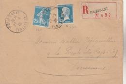 Lettre Recommandée De FOUESNANT - T. à D. / 140 + 180. (combinaison Peu Fréquente). - Postmark Collection (Covers)