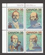 1987  Canadian Inventors: AM Radio, Newsprint, Half-tone, Undersea Cable  Sc1135-8 Se-tenant MNH ** - 1952-.... Règne D'Elizabeth II