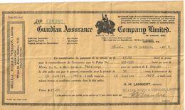 Contrat D'Assurance/Renouvellement/Guardian Assurance Company Limited/London/Belleau-Auger/Québec/Canada/ 1927     BA58 - Canada