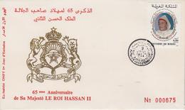 Enveloppe  FDC  1er  Jour  MAROC  65éme  Anniversaire  De   HASSAN  II    1994 - Marocco (1956-...)