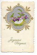 Un Panier De Fleurs - Carte Brodée Sur Trame Transparente  -  - L 1 - Embroidered