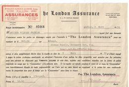 Contrat D'Assurance/Reçu Intérimaire/The London Assurance/Wilbrod Grenier/Pouliot-Giroux & Coté/Québec/Canada/1938  BA59 - Canadá