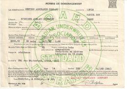 Contrat D'Assurance/Permis De Déménagement/WESTERN ASSURANCE COMPANY/Lévis /Québec/Canada/1948  BA60 - Canadá