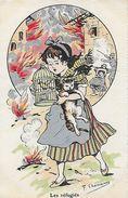 CPA Militaria Humoristique. Illustrateur F. CHAMOUIN.  Les Réfugiés, Sauve Qui Peut, Fillette, Chat, Canari. .CO 173 - Guerre 1914-18