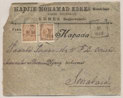 Nederlands Indië - 1898  - 2x 10 Cent Hangend Haar Op Business Cover Van Banjoewangi Naar Soerabaja - Nederlands-Indië