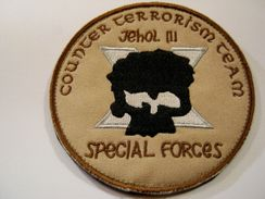 INSIGNE TISSUS PATCH DES COMMANDOS UNITE CONTRE TERRORISME AFGHANISTAN JEHOL III  ETAT EXCELLENT SUR VELCROS - Army