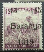 Hungary 1919 MH Overprint Baranya Occupation - Baranya