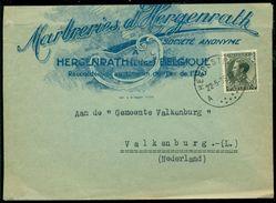 """België 1935 Brief Naar Nederland Speciale Envelop """"Marbreries D'Hergenrath"""" Met OPB 401 - Belgique"""