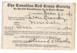 Reçu/ Onze Dollars/ The Canadian Red Cross Society/La Société Canadienne  De La Croix-rouge/1943     PARF121 - Canada