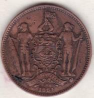 British North Borneo,  One Cent 1884 H .Victoria. KM# 2 - Malaysie
