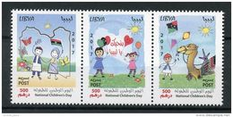 Libya 2017 NEW MNH Set In One Pane - National Children's Day Drawings 3v Strip Camels Flags - Libië
