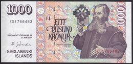 Iceland 1000 Kronur 2001 P59  Signature: Már Guðmundsson UNC - Islanda