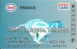 CARTE-MAGNETIQUE-CARBURANTS-ESSO CARD-FRANCE-Exp 2016-TIGRE Argent-Fond Bleu-V° Ref XX-000-Strafors-TBE-RARE - Frankrijk