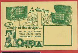 BUVARD / BLOTTER :ONDIA  TSF  La Musique Radio - Electricité & Gaz