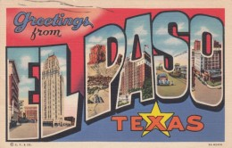 Large Letter Greetings From El Paso Texas, C1930s Vintage Curteich Linen Postcard - Greetings From...