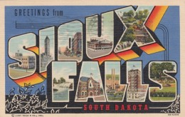 Large Letter Greetings From Sioux Falls South Dakota, C1940s Vintage Curteich Linen Postcard - Greetings From...