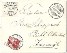 Brieflein  Thun - Bühl Oberthal            1912 - Suisse