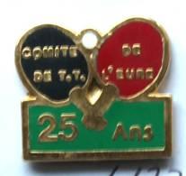 Pin's  COMITE DE TENNIS DE TABLE DE L'EURE - 25 Ans - Raquettes Et Balle De Ping Pong - JPB  - G1177 - Table Tennis