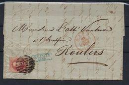 N°8 GESTEMPELD P45 18B Gand OP BRIEF NAAR Roulers COB € 200,00 + COBA € 2,00 SUPERBE - 1851-1857 Medallones (6/8)